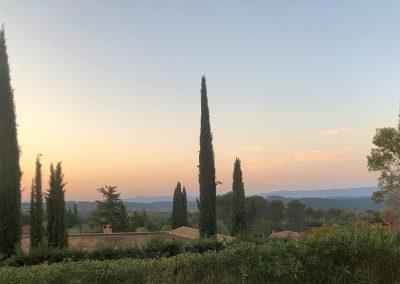 Zonsondergang bij Villa la Douce Noa in Lorgues Provence Zuid Frankrijk
