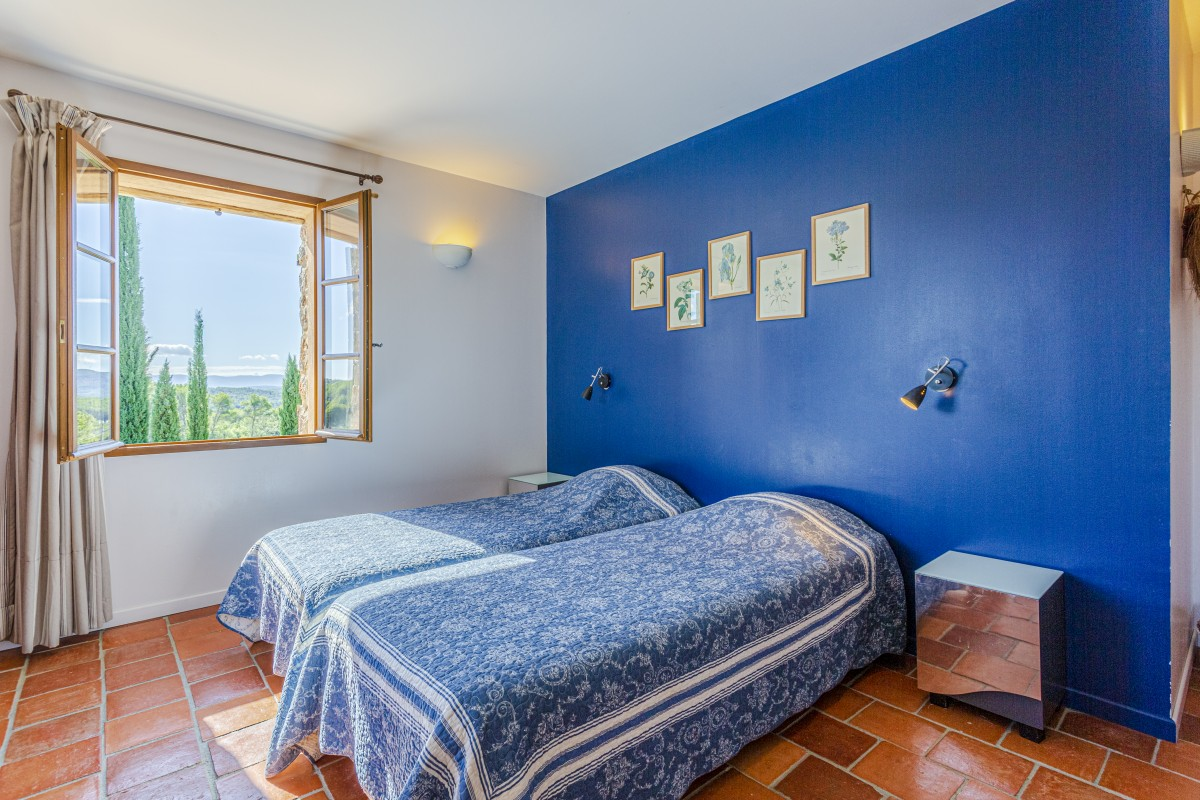 Blauwe slaapkamer Villa La Douce Noa